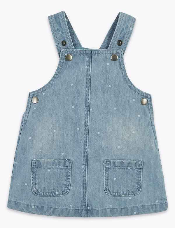 clp60371660: Denim Spotted Pinafore (0 -36 Mths)