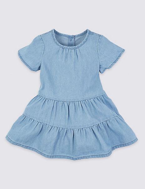 Cotton Chambray Tiered Dress