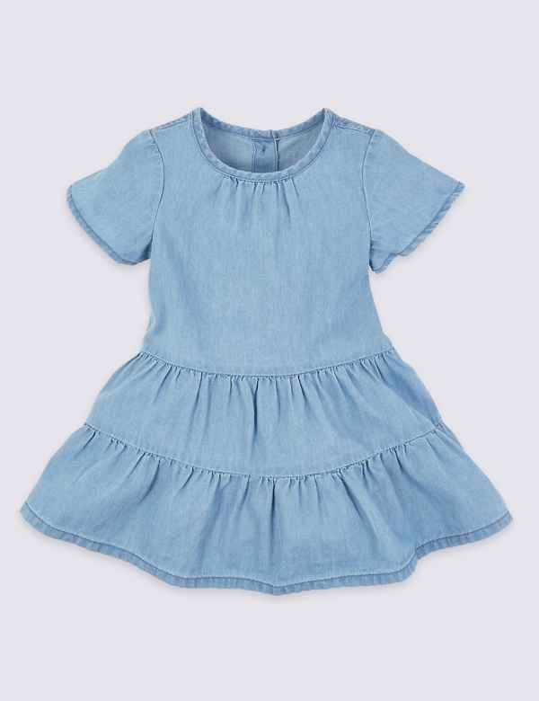 bb55177bc Cotton Chambray Tiered Dress