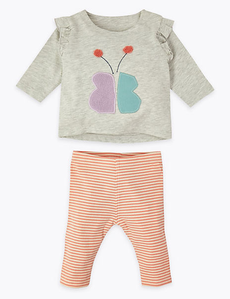 2 Piece Cotton Jersey Butterfly Outfit