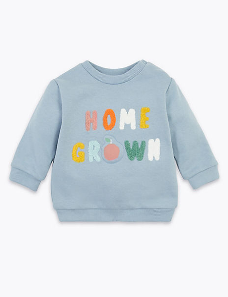 Cotton Rich Home Grown Slogan Sweatshirt