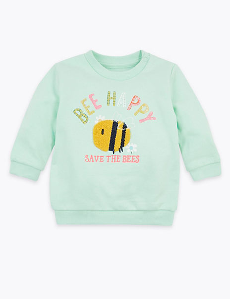 Cotton Rich Bee Happy Slogan Sweatshirt