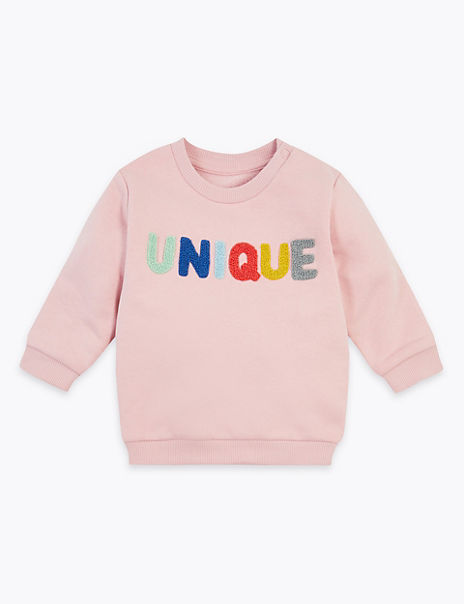 Cotton Rich Unique Slogan Sweatshirt