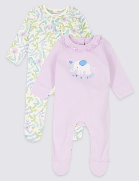 2 Pack Pure Cotton Embroidered Sleepsuits