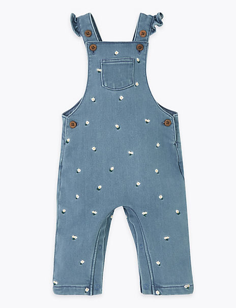 Cotton Rich Embroidered Dungarees (0-3 Yrs)