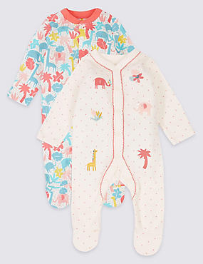 2 Pack Embroidered Pure Cotton Sleepsuits