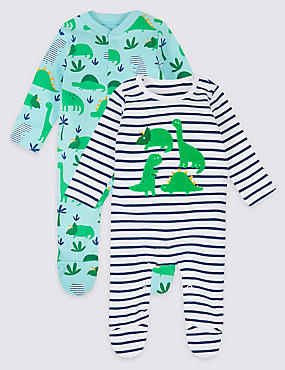 2 Pack Pure Cotton Dinosaur Sleepsuits