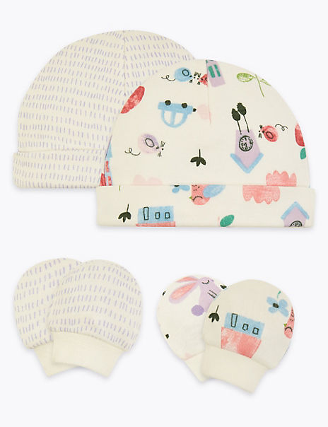 2 Pack Premature Hats & Mittens Set (3lbs-4lbs)