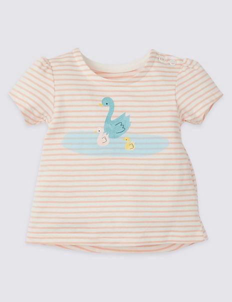 Pure Cotton Striped Swan T-Shirt