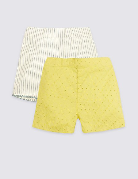 2 Pack Pure Cotton Broderie Shorts