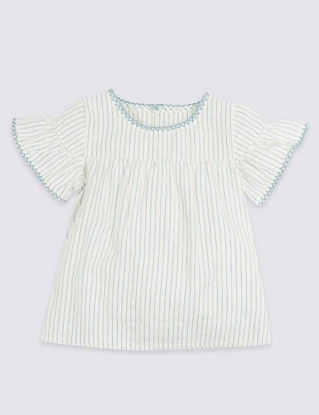 Frill Woven Pure Cotton Striped Top