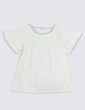 Frill Woven Pure Cotton Striped Top
