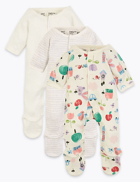 3 Pack Pure Cotton Premature Sleepsuits