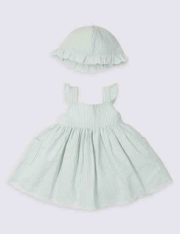 68a2795fb 2 Piece Woven Striped Dress with Hat