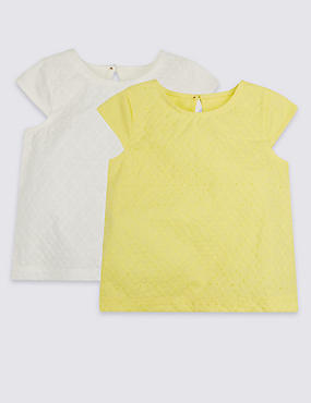 2 Pack Broderie Pure Cotton T-Shirts