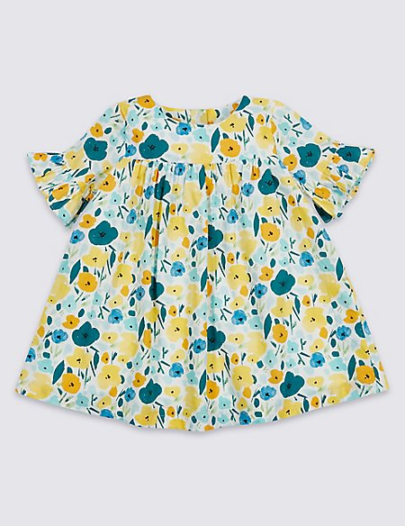 Floral Print Pure Cotton Frill Sleeve Dress
