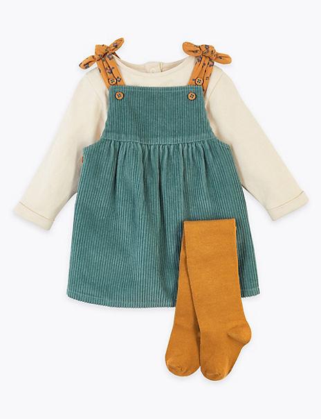 3 Piece Cord Pinafore Dress