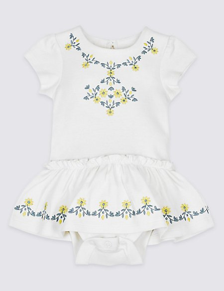 Pure Cotton Embroidered Body Dress