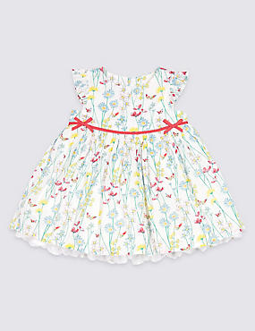 Pure Cotton Floral Print Party Dress