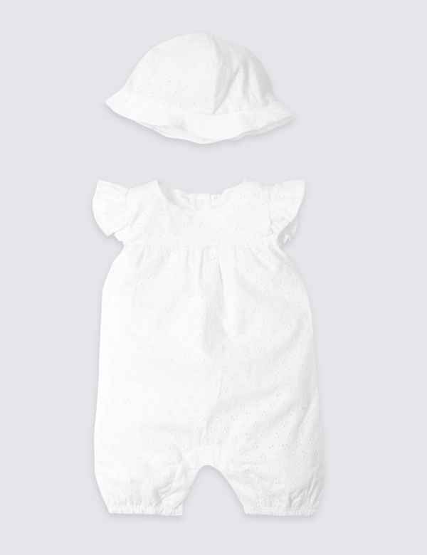 f089d28f534 2 Piece Pure Cotton Broderie Romper with Hat