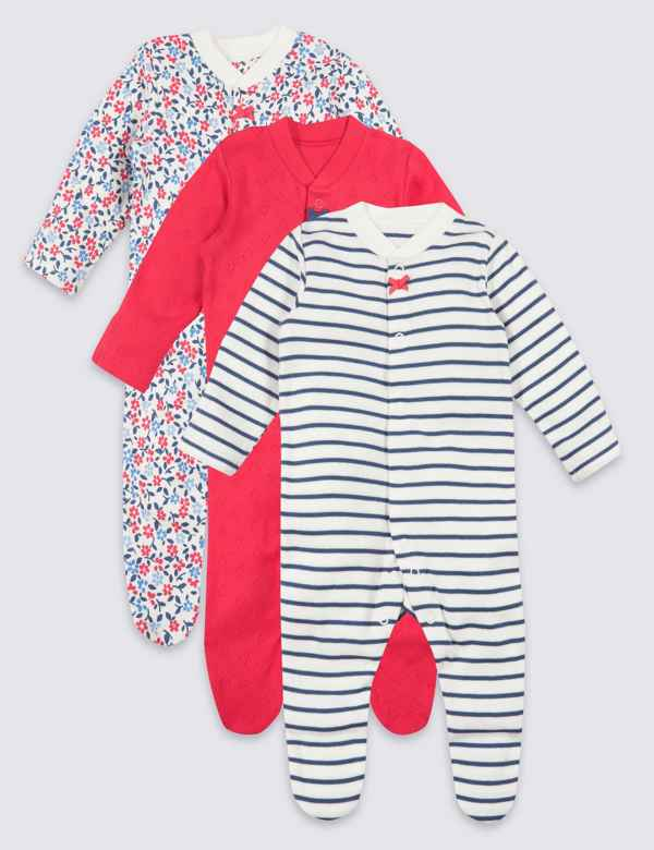 9efecc19adbd 3 Pack Organic Cotton Sleepsuits