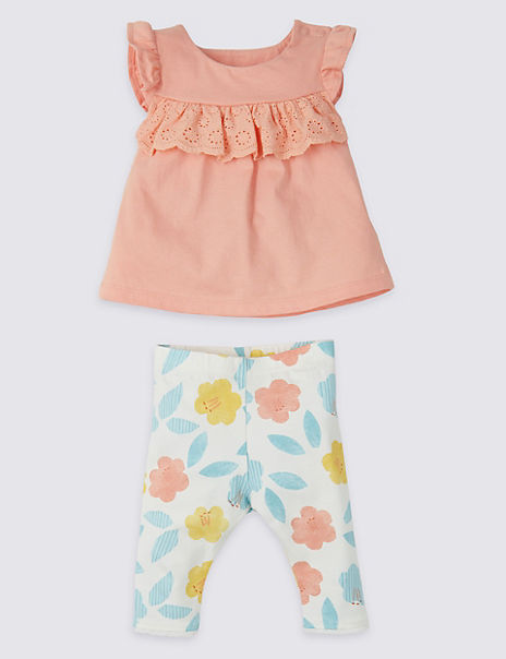 2 Piece Frill Top & Leggings Outfit