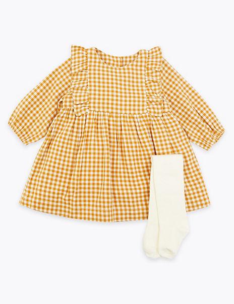 2 Piece Cotton Gingham Dress