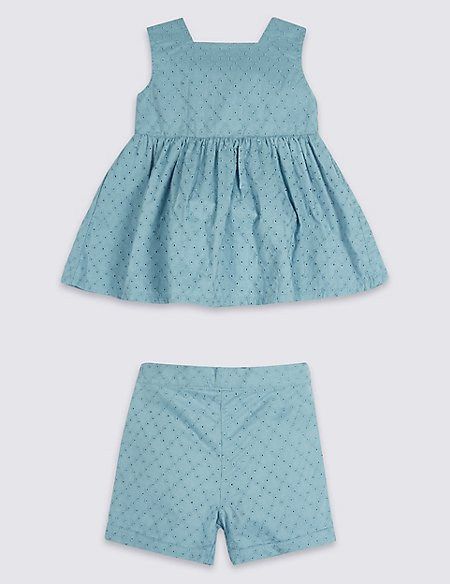 2 Piece Broderie Top & Shorts Outfit
