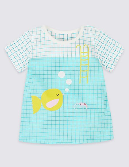 Pure Cotton Graphic Fish T-Shirt