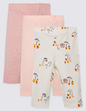 3 Pack Cotton Rich Llama Print Leggings with Stretch