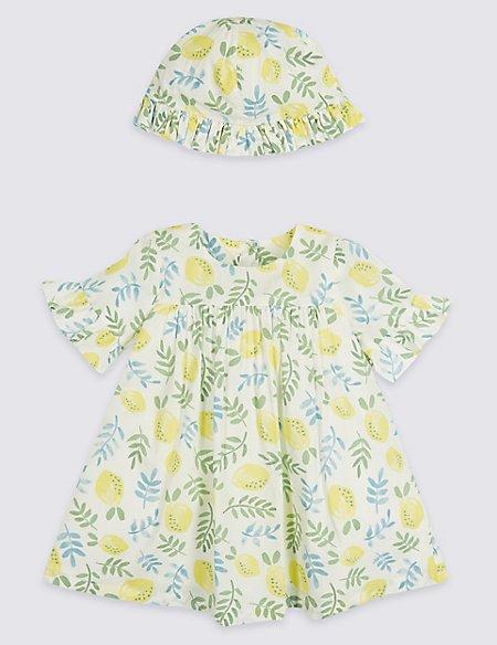 2 Piece Lemon Print Dress with Hat Outfit
