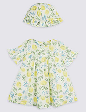 2 Piece Lemon Print Dress with Hat Outfit