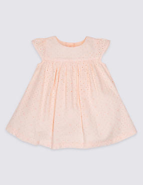 Bordered Pure Cotton Baby Dress