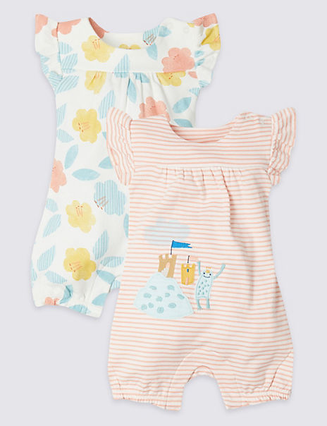 2 Pack Floral Pure Cotton Jersey Rompers