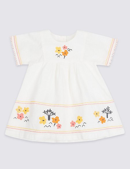 Embroidered Pure Cotton Dress