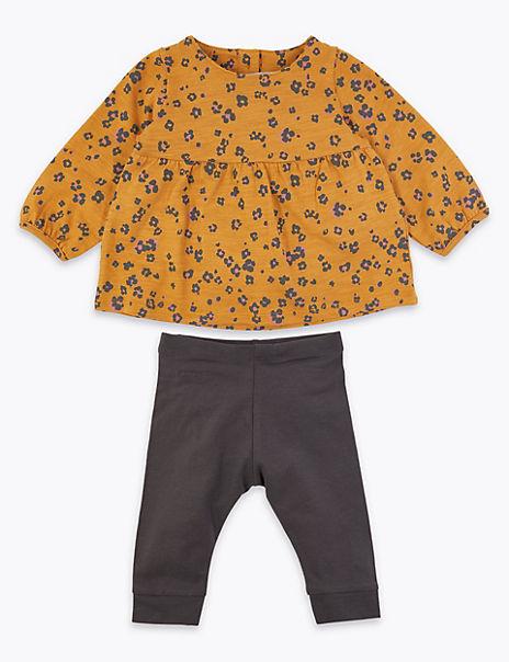 2 Piece Cotton Flower Print Outfit