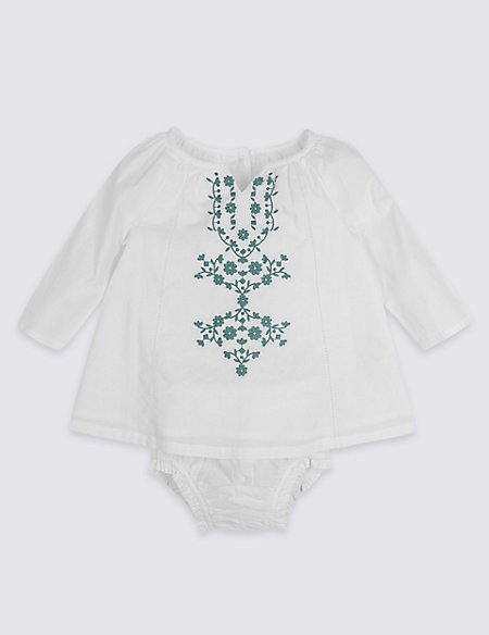 Embroidered Woven Top & Knickers Outfit