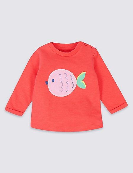 Pure Cotton Fish Applique Sweatshirt