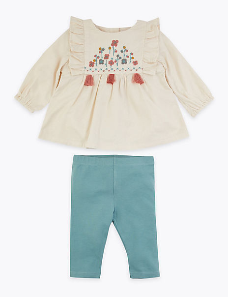 2 Piece Cotton Embroidered Frilled Outfit