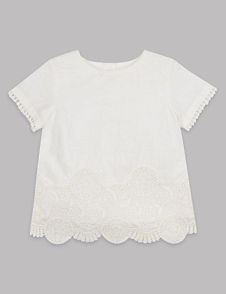 Pure Cotton Broidered Hem Top