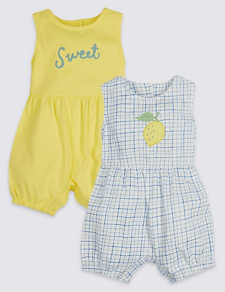 2 Pack Pure Cotton Jersey Rompers