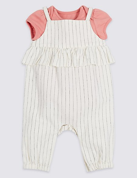 2 Piece Frill Dungarees & Bodysuit Outfit