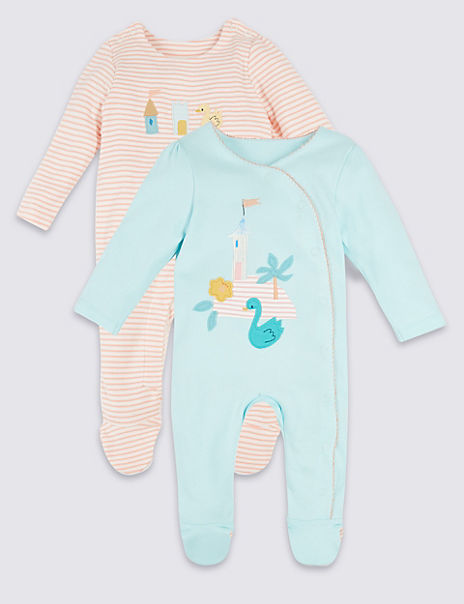 2 Pack Pure Cotton Swan Sleepsuits
