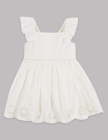 Pure Cotton Broidered Hem Dress