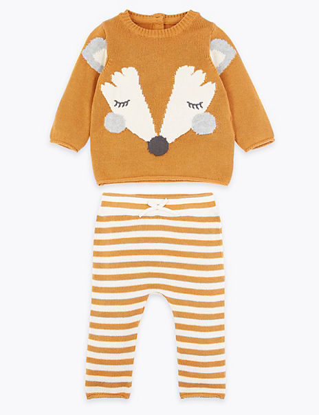 2 Piece Knitted Fox Top & Bottom Outfit
