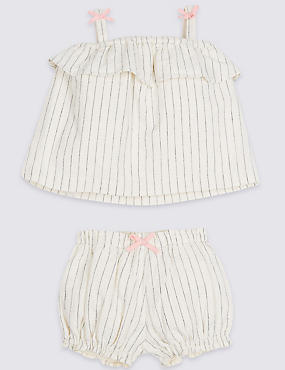 2 Piece Textured Woven Top & Shorts Outfit