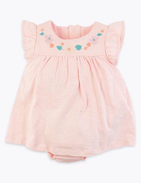 Cotton Spotted Bodysuit Dress (0-12 Mths)