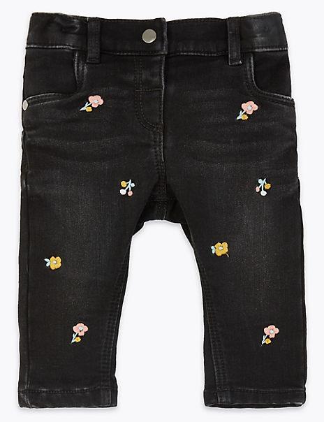 Denim Floral Jeans