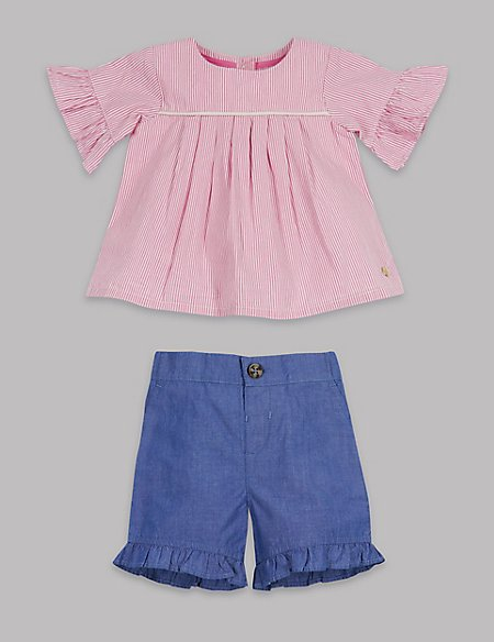 2 Piece Striped Frill Sleeve Top & Shorts Outfit