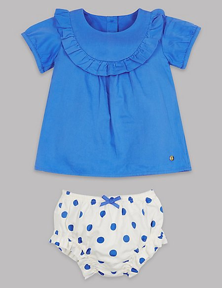 2 Piece Woven Top & Spotted Knickers Outfit